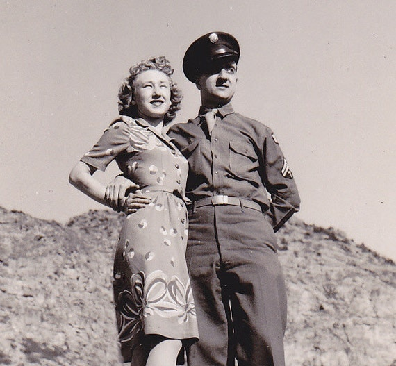 Wartime Romance- Soldier's Wife- 1940s Vintage Photograph