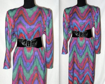 In Living color .. Vintage 80s sack dress / 1980s puff sleeve shift / mulit rainbow / abstract geometric chevron / avant garde .. L XL