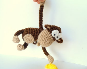 Pattern, Amigurumi Pattern, Amigurumi Monkey Pattern, Crocheted Monkey Pattern with Banana, Tutorial
