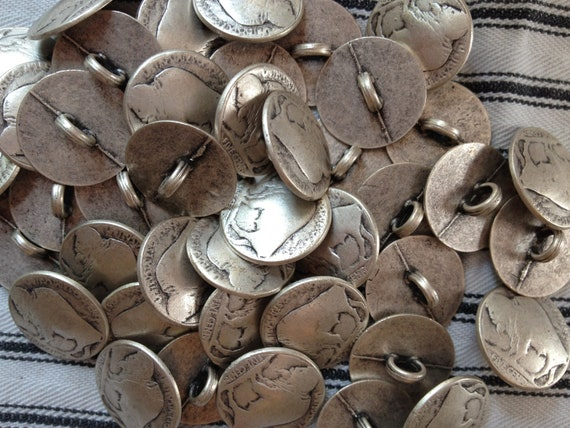 50 buffalo nickel replica buttons - reserved for Kat only