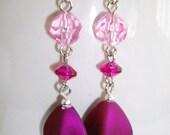 Fuschia and Pink Dangle Earrings