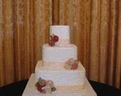 Custom Bridal Wedding Rolled Rosettes Decoration Shabby Chic Cake Topper
