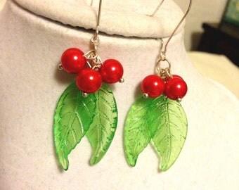 Holly Earrings - Christmas Earrings