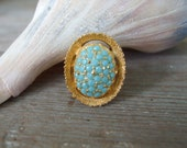 Gold Ring Turquoise Cocktail Ring Adjustable 1970s Spain Deadstock