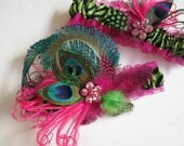 Hot Pink WEDDING Garter Set, Peacock Garter, Magenta Pink Garter, Zebra Garters, Lime / Kiwi Garters, Beach Wedding