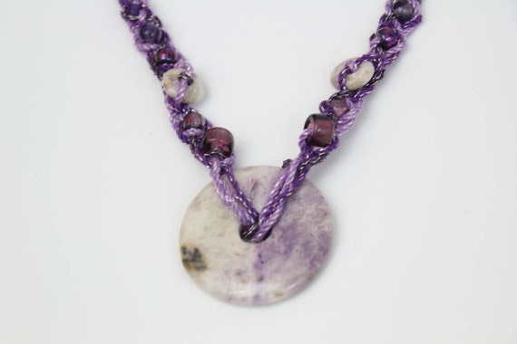 SALE - Fluorite Pendant, Beaded, Braided Fiber Statement Necklace in Purples (BN-50)