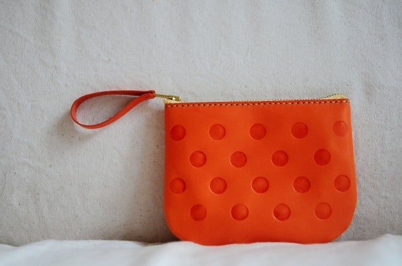 Artemis Leatherware Hand Stitched Leather Dot Pattern Pouch