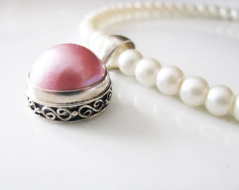 Large Pink Mabe Pearl Sterling Pendant Wedding Bridal Necklace  Pearls