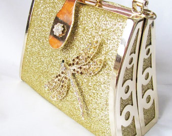Gold Fabric Wedding Bag Clutch Formal Evening Bag with  Austrian Crystal Dragonfly