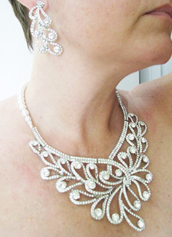 Statement Piece Wedding Bridal Necklace and Earring Set in Antique Silver tone and White Swarovski Pearls