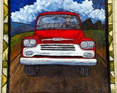 Fine Art Original Painting Large Red Truck on Canvas by Christine Schultz