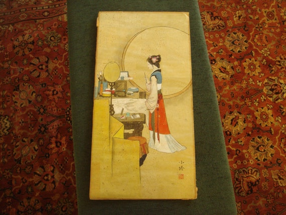 """Art Deco Original Signed and Monogrammed Japanese Watercolor of a Girl Painting 12"""" by 24"""""""