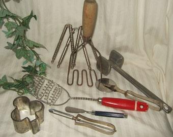 Vintage kitchen utensils  cottage decor country kitchen decor farm kitchen