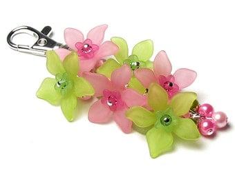 Tropical Isle Pink Lime Floral Crystal Pearl Silver Handbag Charm