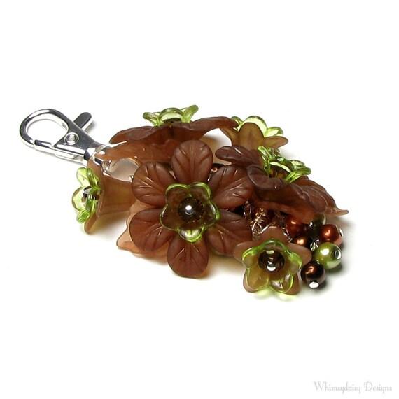 Woodland Forest Brown Floral Crystal Pearl Handbag Charm