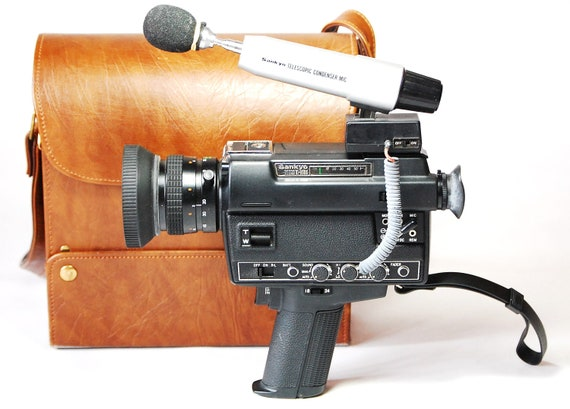 Sankyo Sound XL-600S Super 8 Video Camera With Case And Telescopic Microphone