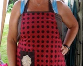 40 dollar sale Bohemian, upcycled, refashioned, altered, brown and red apron dress