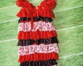 Medium- Red Black White Lacy Romper with matching headband and bow