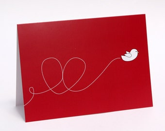 Cute Greeting Card - Birdy Greeting Card, Heart Greeting Card - Blank Inside, Birthday Card, Valentine's Day Card