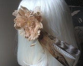 Tea Stained Feather Fascinator - Cruelty Free Feathers - OOAK