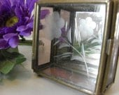 Vintage Brass and Glass Display Box, Trinket, Purple Glass