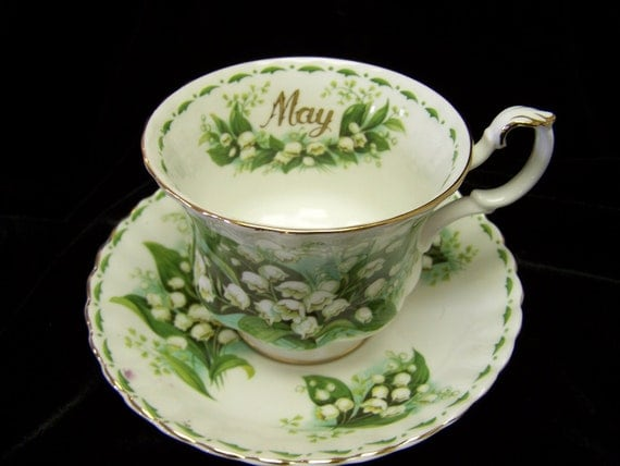 """Royal Albert  Flower of the month """"May """" cup and saucer"""
