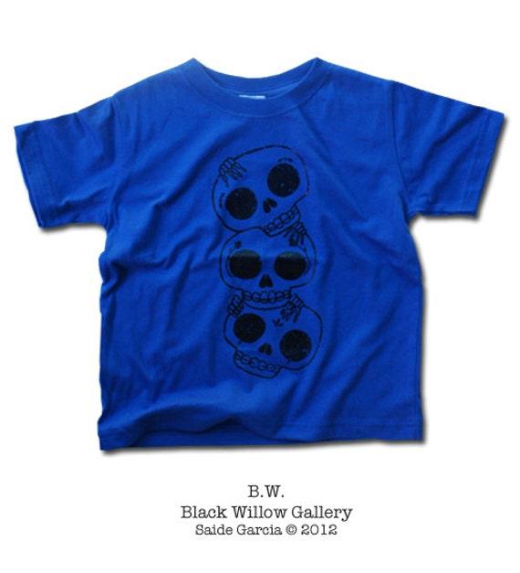 3 Skulls Day of the Dead Toddler Silkscreen Kid T-Shirt Blue