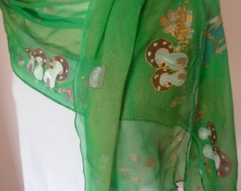 """Handpainted Chiffon Scarf by The Silk Maid """"in Christmas Colours."""