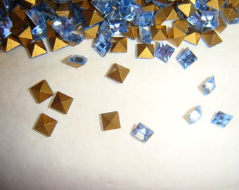 Vintage Swarovski light Sapphire Rhinestones 4mm Square QTY - 12