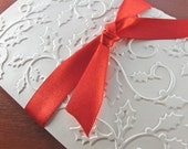 Christmas Cards Set of 8 (Holly Berry in Ivory, Embossed)