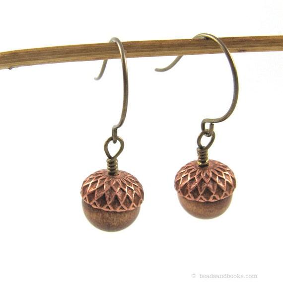 Acorn Earrings (Wood, Autumn Jewelry)