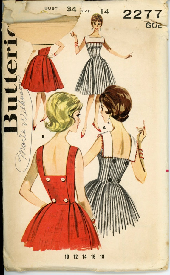 Butterick 2277 Misses 1960s Dress Pattern Sleeveless Low Back Button Full Skirt Wrap Sundress Womens Vintage Sewing Pattern Bust 34 UNCUT