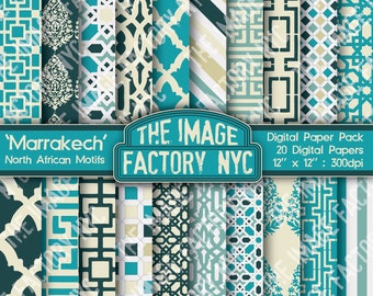 Marrakech North African Motifs Digital Mega Paper Pack Collection (TIFNYC-NAPP-1) for all paper crafts-Download & Print