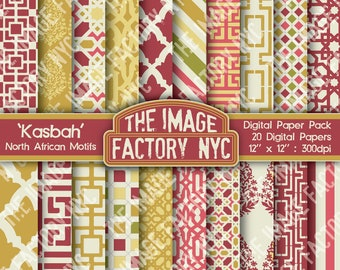 Kasbah North African Motifs Digital Mega Paper Pack Collection (TIFNYC-NAPP-4) for all paper crafts-Download & Print