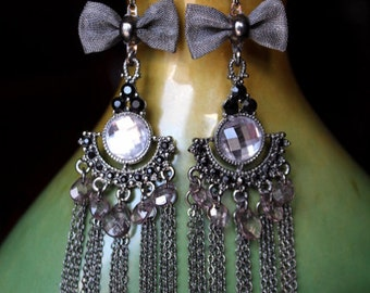 Modern Gunmetal Chains and Bow Lightweight Chandelier Earrings