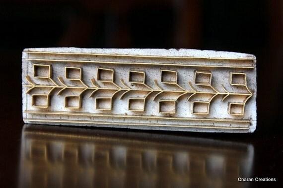 Handmade  Indian Wood and Brass Stamp Block- OOAK Geometric Border