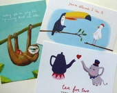 postcards art print - set of 6 - tucan, chicken, teapot, sloth, elephant, coffee