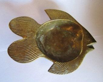 Vintage Brass Fish--ashtray, catchall, bowl