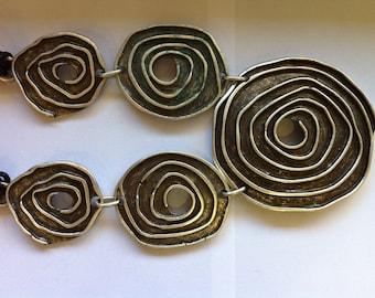 XL Large Tribal Necklace Art Nouveau - Silver Plated