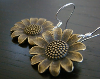 Daisy , antique bronze earrings with sterling silver ear wires