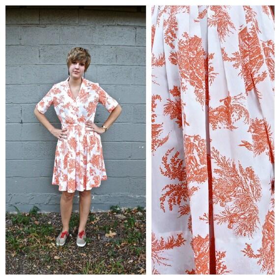 1950s shirtdress / pleated tangerine and white dress