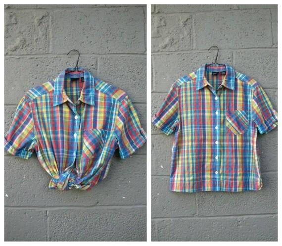 90s plaid button up pocket blouse M