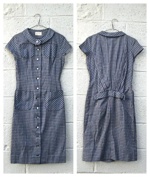 1960s plaid day dress / round collar button up pocket dress S