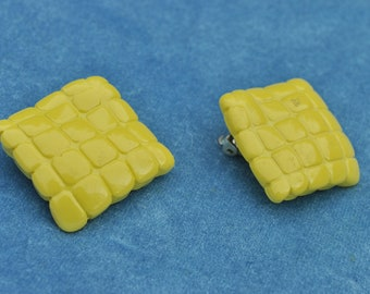50s Canary Yellow Earrings - could be bakelite