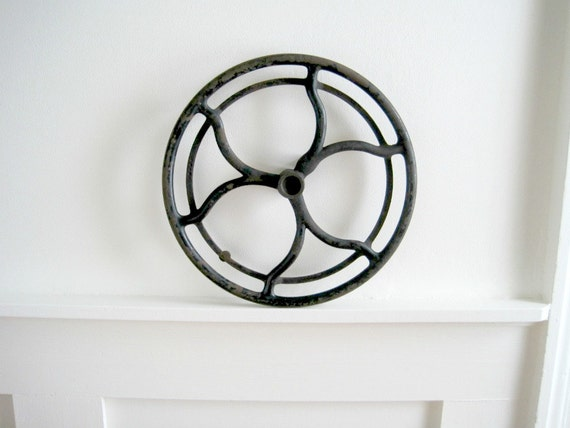 Antique Cast Iron Wheel - Rustic Industrial Decor