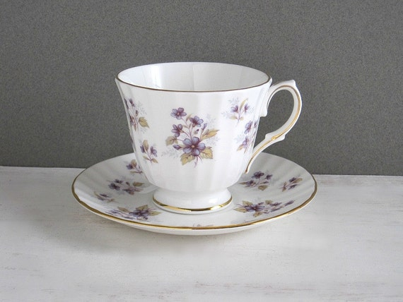 Vintage Blue Floral Bone China Cup & Saucer - Duchess Woodside