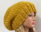 Made to Order - Chunky Knit Mustard Yellow Slouchy Beret Hat