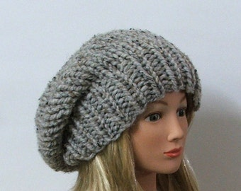 Chunky Knit Marbled Silver Gray Slouchy Beret Hat