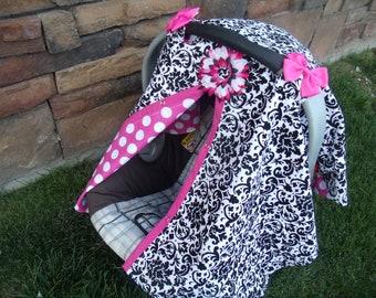 Car seat Canopy Girl Damask Dots