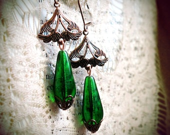 Leafy Emeralds, delicate antiqued copper filigree, glass green drops, bead caps, vintage, Victorian, romantic, art nouveau, absinthe